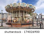 Old Wooden Carousel In Honfleu...