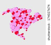 bubble hearts map of north... | Shutterstock .eps vector #174027674