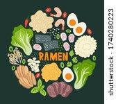 ramen on table. top view.... | Shutterstock .eps vector #1740280223
