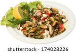 mussels with crayfish served... | Shutterstock . vector #174028226