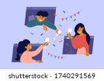 online party  birthday  virtual ... | Shutterstock .eps vector #1740291569
