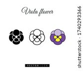 Viola Flowers Icon Set. Flat...