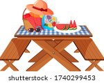 picnic table with fruits and... | Shutterstock .eps vector #1740299453