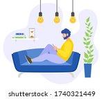 activities in lockdown and... | Shutterstock .eps vector #1740321449