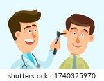 hearing examination  close up.... | Shutterstock .eps vector #1740325970