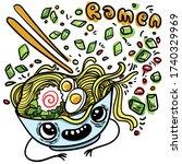 doodle style cartoon vector...   Shutterstock .eps vector #1740329969