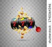 golden slot machine wins the...   Shutterstock .eps vector #1740364346