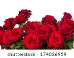 Stock photo bouquet of dark red roses close up isolated on white background 174036959