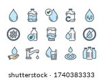 water related color line icon...