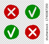 tick and cross grunge rubber... | Shutterstock .eps vector #1740387350