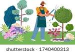 gardener cuts a tree. pruning... | Shutterstock .eps vector #1740400313