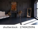 Black Room Interior With A...