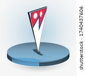 nepal map in round isometric... | Shutterstock .eps vector #1740437606