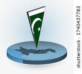 pakistan map in round isometric ... | Shutterstock .eps vector #1740437783