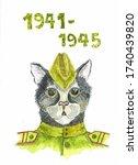 Watercolor Illustration Of Cat...