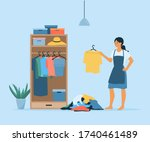 vector flat girl organize her... | Shutterstock .eps vector #1740461489