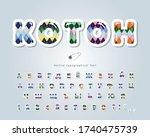 cotton argyle font. textile... | Shutterstock .eps vector #1740475739