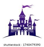 castle silhouette standing on... | Shutterstock .eps vector #1740479390