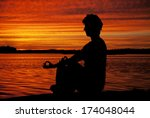 silhouette woman sitting and... | Shutterstock . vector #174048044