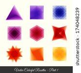 9 colorfull geometric rosettes... | Shutterstock .eps vector #174048239