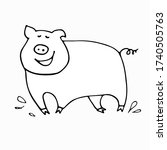 stylized pig in a doodle style. ... | Shutterstock .eps vector #1740505763