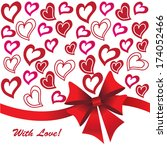 hearts background with ribbon...   Shutterstock .eps vector #174052466