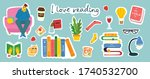 read books stickers collage.... | Shutterstock .eps vector #1740532700