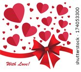 hearts background with ribbon... | Shutterstock . vector #174053300