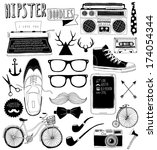 hand-drawn hipster's doodles collection