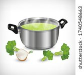 3d stainless pot  boiling green ...