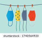 dry cloth face masks... | Shutterstock .eps vector #1740564920