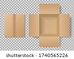 cardboard box top view for... | Shutterstock .eps vector #1740565226