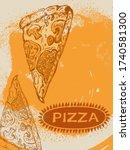 vector sketch of a pizza slice... | Shutterstock .eps vector #1740581300