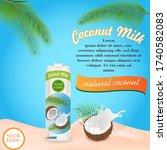 advertising coconut milk.... | Shutterstock .eps vector #1740582083