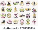 set of craft beer and wine... | Shutterstock .eps vector #1740601886