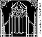 architectural abstraction  dark ... | Shutterstock .eps vector #1740611963