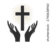 hands with shining holy cross.... | Shutterstock .eps vector #1740638960