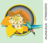 hummingbird and flowers in a... | Shutterstock .eps vector #1740642053