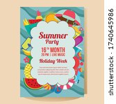 summer holiday party poster... | Shutterstock .eps vector #1740645986