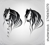 vector silhouette of a horse's...   Shutterstock .eps vector #1740656570