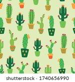 cactus seamless  pattern design ...   Shutterstock .eps vector #1740656990