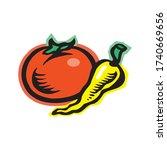 whole ripe tomato  and chili...   Shutterstock .eps vector #1740669656