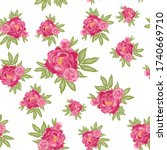 pattern with pink peonies and...   Shutterstock .eps vector #1740669710