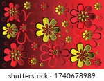 wallpaper with red flowers and...   Shutterstock .eps vector #1740678989