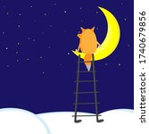 cartoon fox seating on half...   Shutterstock .eps vector #1740679856