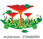 red mushrooms in green grass...   Shutterstock .eps vector #1740680090