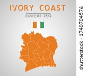 detailed map of ivory coast...   Shutterstock .eps vector #1740704576