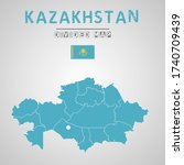 detailed map of kazakhstan with ...   Shutterstock .eps vector #1740709439