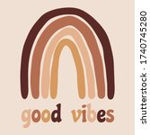 good vibes. boho rainbow. vector   Shutterstock .eps vector #1740745280