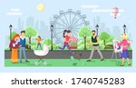 different people walking in the ... | Shutterstock .eps vector #1740745283